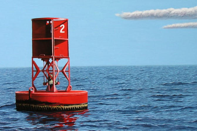 you enter a harbor. you see a buoy with red and white vertical stripes. what should you do