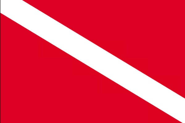 While boating, you see a red flag with a white diagonal stripe. What does this flag mean